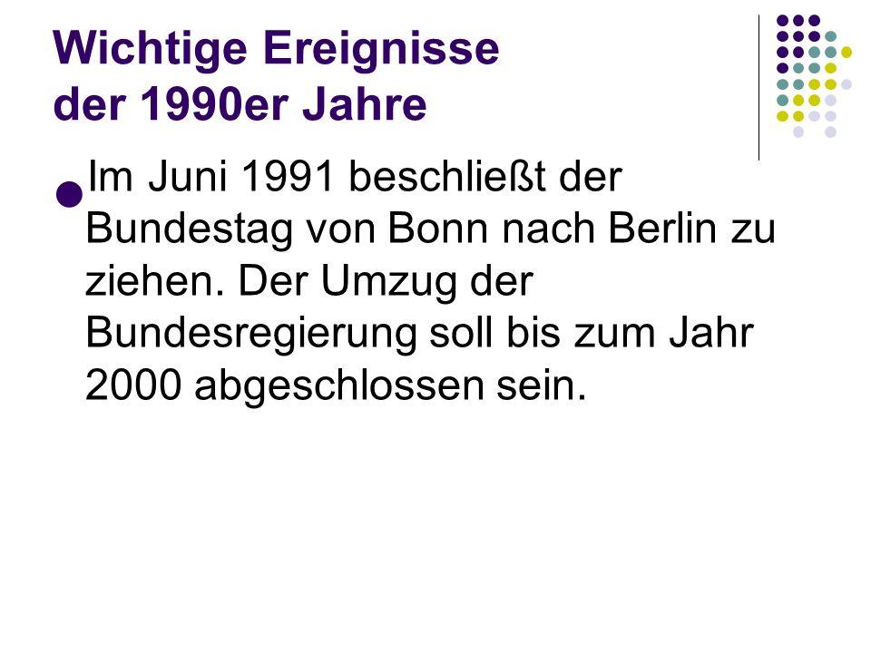 Wichtige Ereignisse der 1990er Jahre Am 2. Dezember 1990 findet die erste gesamtdeutsche Bundestagswahl statt. Es ist das erste frei gewählte Parlamen