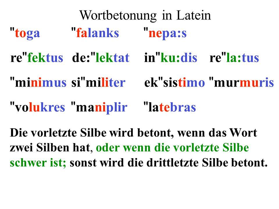 Die vorletzte Silbe wird betont, wenn das Wort zwei Silben hat, oder wenn die vorletzte Silbe schwer ist; sonst wird die drittletzte Silbe betont. re