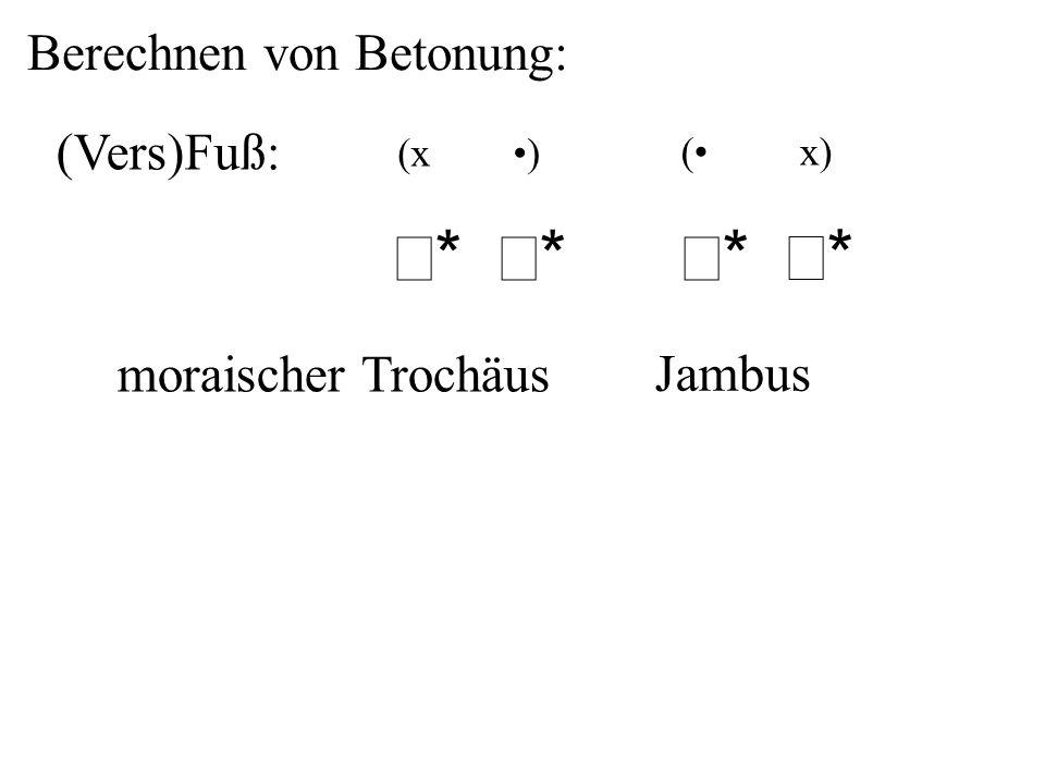 (Vers)Fuß: moraischer Trochäus Jambus (x ) ** ** ** ** Berechnen von Betonung:
