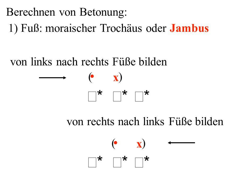 Berechnen von Betonung: 1) Fuß: moraischer Trochäus oder Jambus x x ** ** ** ** ** ** ( ) von rechts nach links Füße bilden von links nach