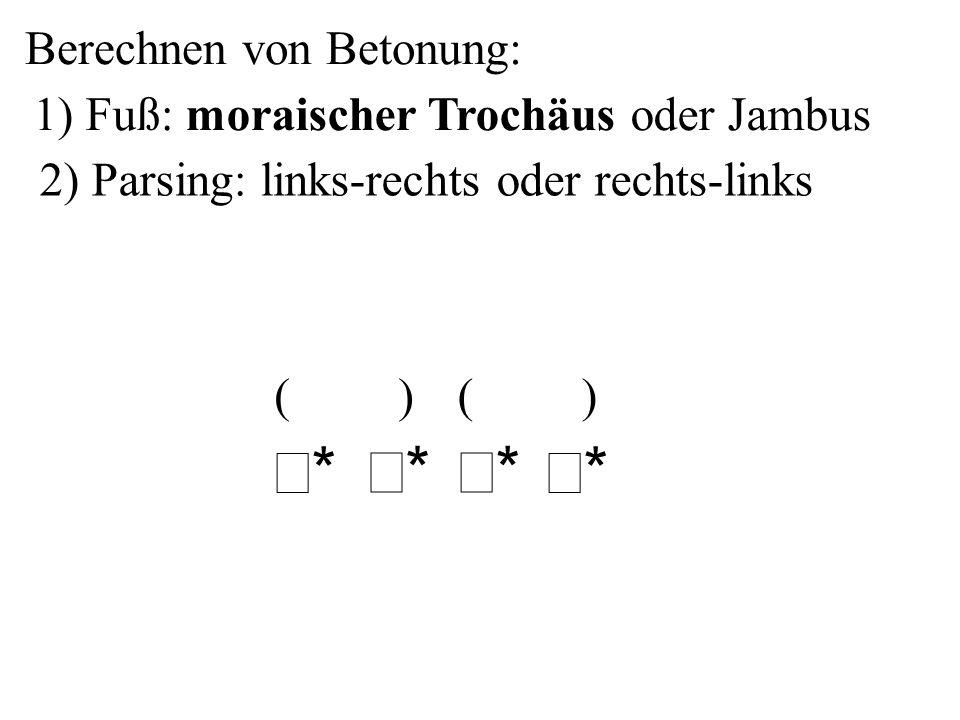 Berechnen von Betonung: 2) Parsing: links-rechts oder rechts-links ** ** ** ** ( )( ) 1) Fuß: moraischer Trochäus oder Jambus