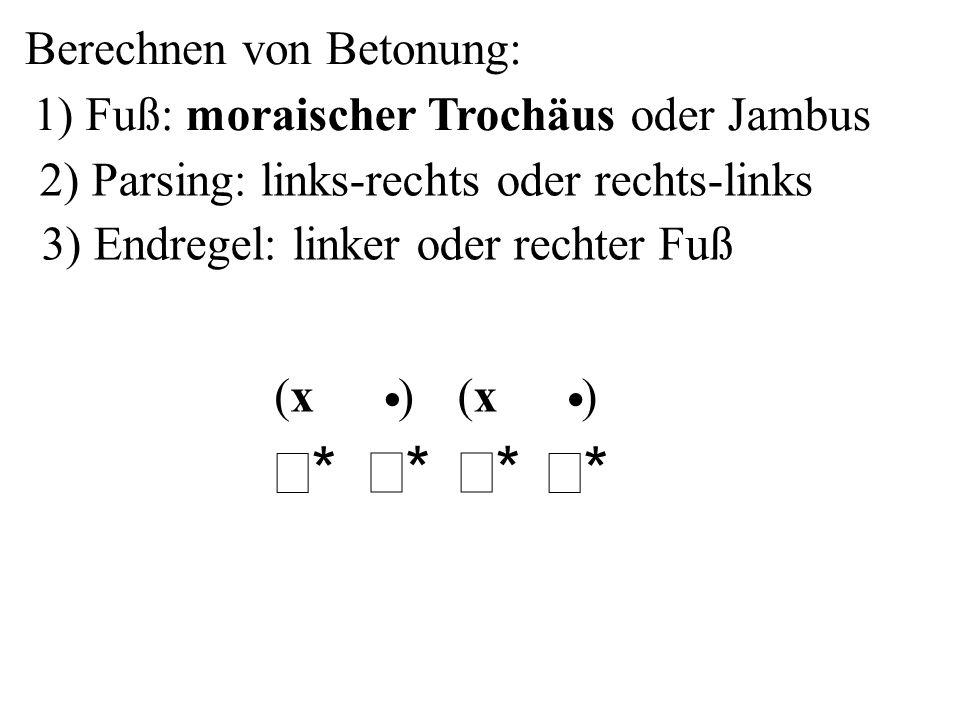 Berechnen von Betonung: 2) Parsing: links-rechts oder rechts-links 3) Endregel: linker oder rechter Fuß ** ** ** ** ( ) x ( ) x 1) Fuß: morais