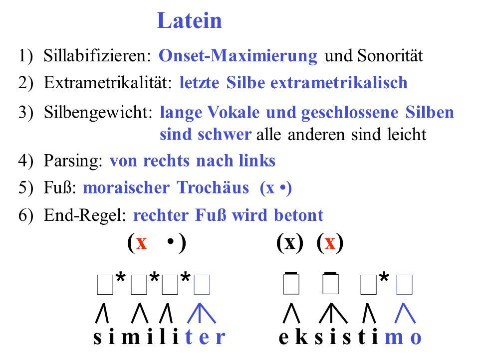 e k s i s t i m os i m i l i t e r 1)Sillabifizieren: Onset-Maximierung und Sonorität Latein ** ** ** **  ** ** 2)Extrametrikalität: let