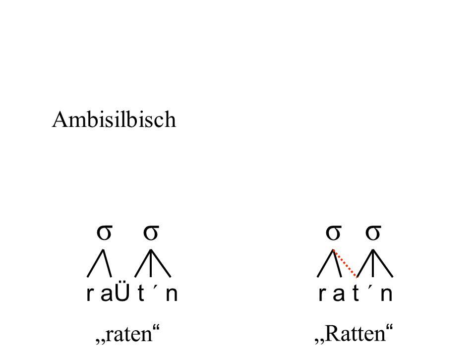 "r aÜ t ´ nr a t ´ n σ σσσ ""raten "" ""Ratten "" Ambisilbisch"
