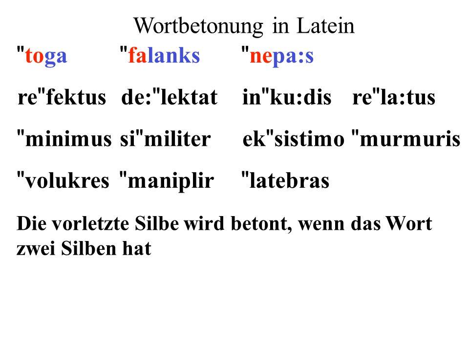 re fektusde: lektatin ku:disre la:tus minimusek sistimosi militer murmuris 1)Extrametrikalität: letzte Silbe 2)Silbengewicht: lange Vokale und geschlossene Silben ** ** ** ** ** ** ** **  ** 3)Parsing: von rechts nach links (x) ()x() 4)Fuß: moraischer Trochäus (x ) x 5)End-Regel: rechter Fuß wird betont  (x)