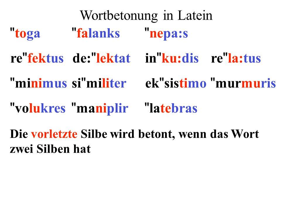 re fektusde: lektatin ku:disre la:tus minimusek sistimosi militer murmuris 1)Extrametrikalität: letzte Silbe 2)Silbengewicht: lange Vokale und geschlossene Silben ** ** ** ** ** ** ** **  ** 3)Parsing: von rechts nach links (x) (x)(x) ()x() 4)Fuß: moraischer Trochäus (x ) x 5)End-Regel: rechter Fuß wird betont  (x)