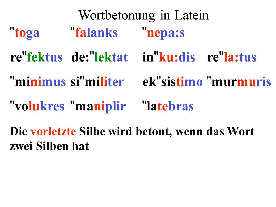 re fektusde: lektatin ku:disre la:tus minimusek sistimosi militer murmuris 1)Extrametrikalität: letzte Silbe 2)Silbengewicht: lange Vokale und geschlossene Silben ** ** ** ** ** ** ** **  ** 3)Parsing: von rechts nach links (x) (x)(x) (x)(x) ()x() 4)Fuß: moraischer Trochäus (x ) x 5)End-Regel: rechter Fuß wird betont  (x)