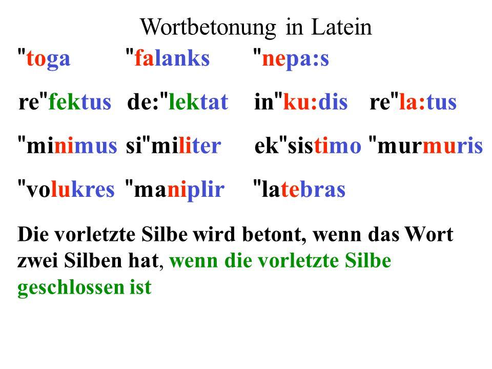 re fektusde: lektatin ku:disre la:tus minimusek sistimosi militer murmuris 1)Extrametrikalität: letzte Silbe 2)Silbengewicht: lange Vokale und geschlossene Silben ** ** ** ** ** ** ** **  ** 3)Parsing: von rechts nach links (x)(x)(x)(x)(x) (x)(x) ()x() 4)Fuß: moraischer Trochäus (x ) x 5)End-Regel: rechter Fuß wird betont  (x)