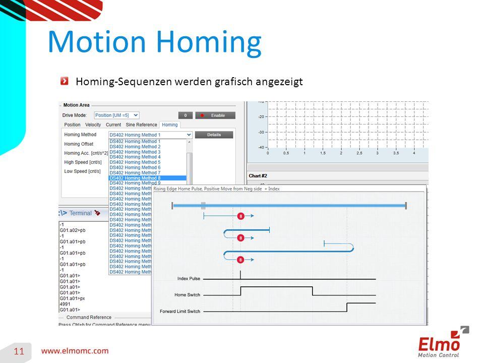 Motion Homing 11 Homing-Sequenzen werden grafisch angezeigt