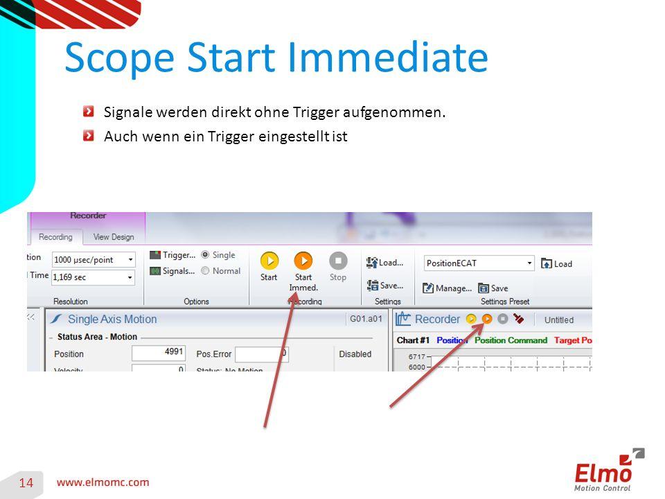 Scope Start Immediate 14 Signale werden direkt ohne Trigger aufgenommen.