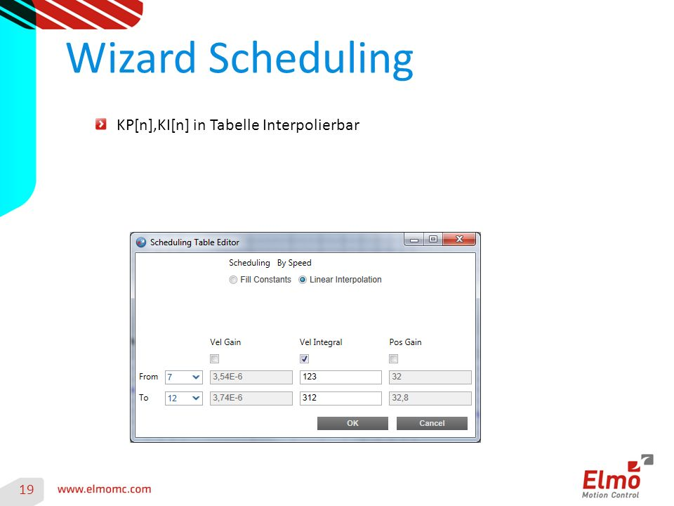 Wizard Scheduling 19 KP[n],KI[n] in Tabelle Interpolierbar