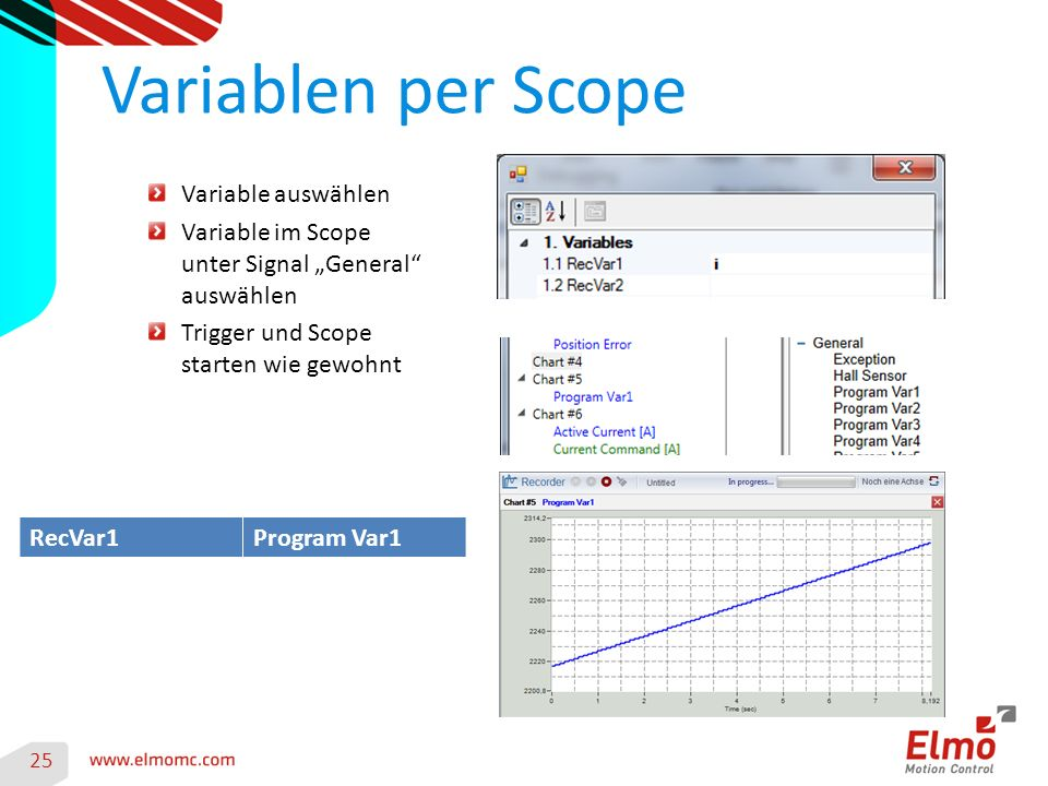 "Variablen per Scope 25 Variable auswählen Variable im Scope unter Signal ""General auswählen Trigger und Scope starten wie gewohnt RecVar1Program Var1"
