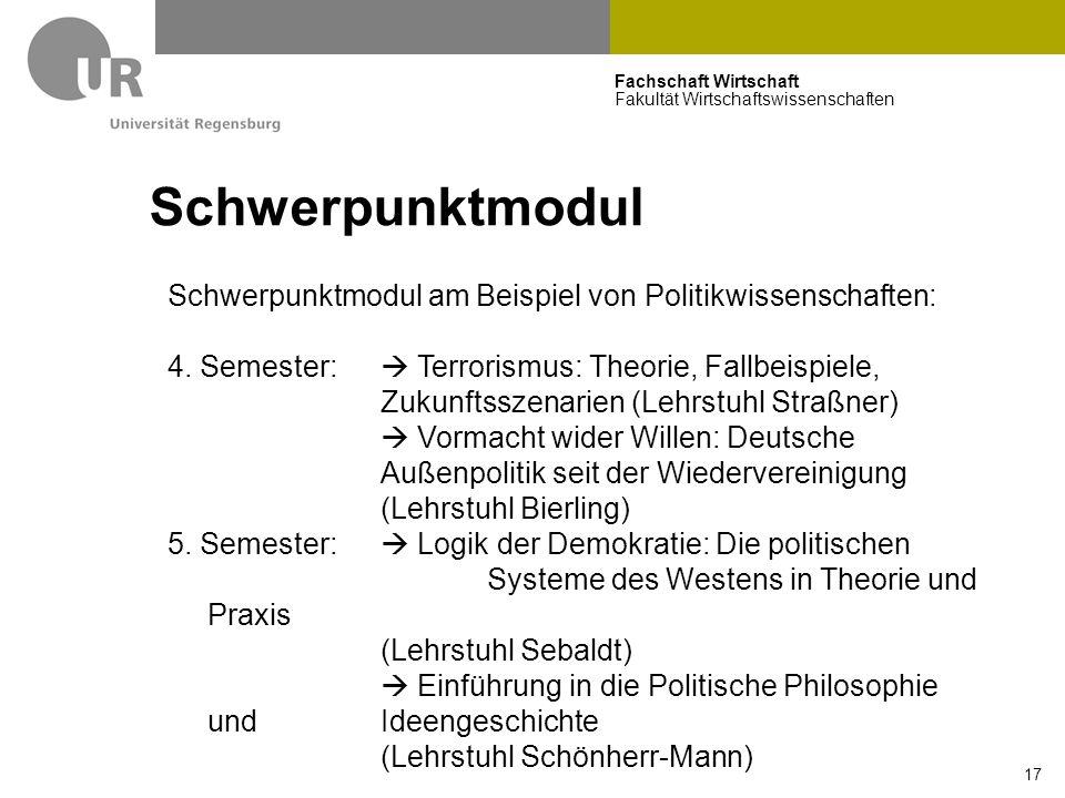 Fachschaft Wirtschaft Fakultät Wirtschaftswissenschaften 17 Schwerpunktmodul Schwerpunktmodul am Beispiel von Politikwissenschaften: 4.