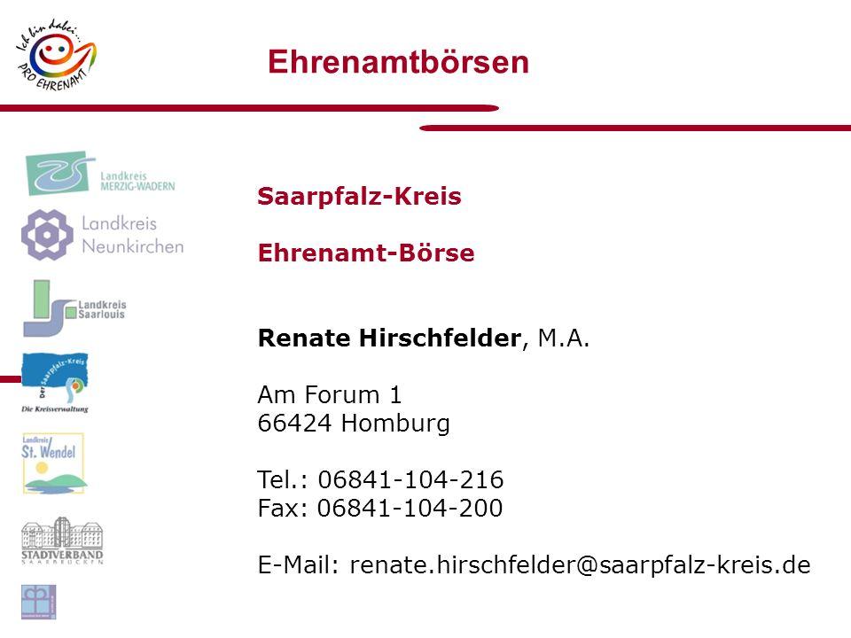Ehrenamtbörsen Saarpfalz-Kreis Ehrenamt-Börse Renate Hirschfelder, M.A.