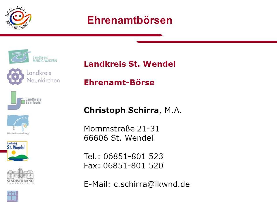 Ehrenamtbörsen Landkreis St.Wendel Ehrenamt-Börse Christoph Schirra, M.A.