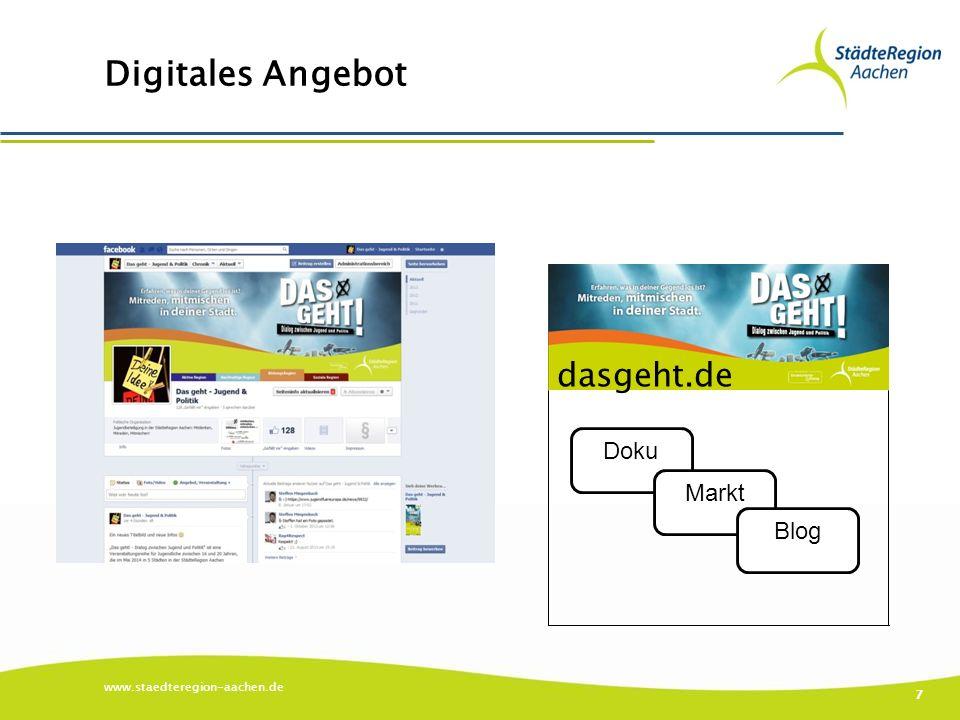 Digitales Angebot www.staedteregion-aachen.de 7 Doku Markt Blog dasgeht.de
