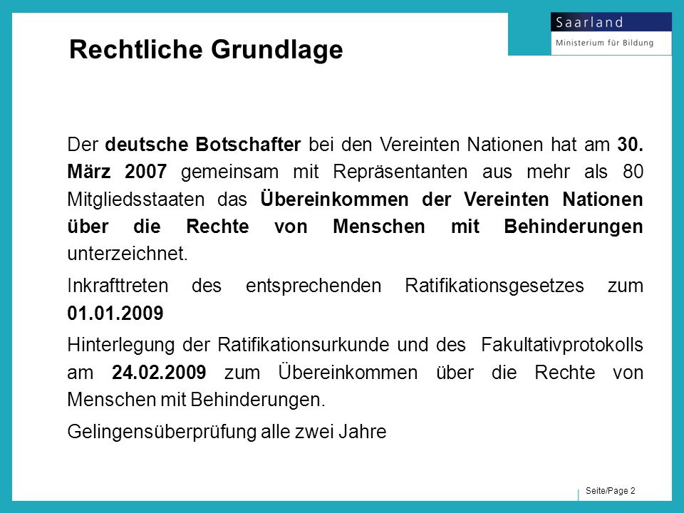 """Seite/Page 3 UN - Konvention, Artikel 24: """"Die Vertragsstaaten anerkennen das Recht behinderter Menschen auf Bildung."""