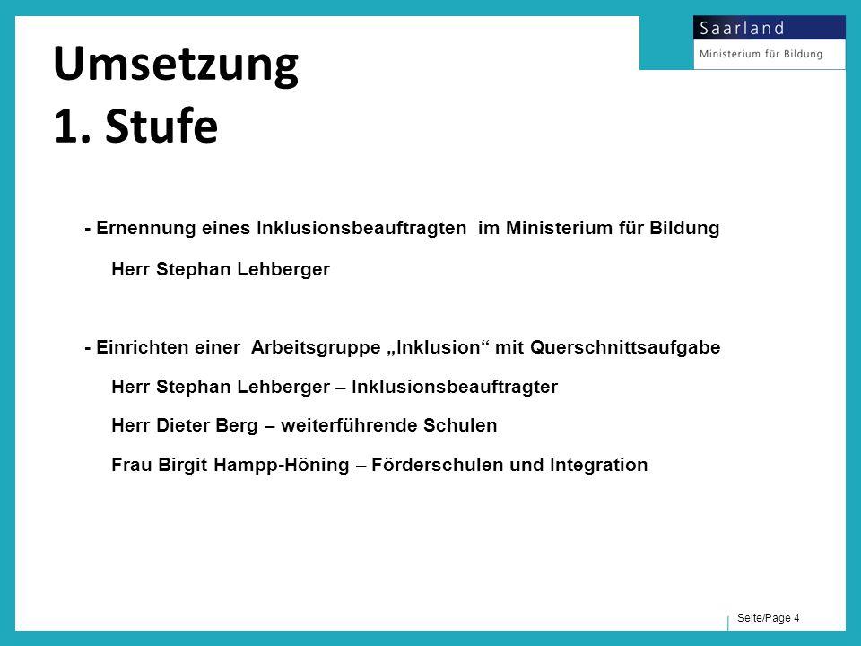 """Seite/Page 4 - Ernennung eines Inklusionsbeauftragten im Ministerium für Bildung Herr Stephan Lehberger - Einrichten einer Arbeitsgruppe """"Inklusion"""" m"""