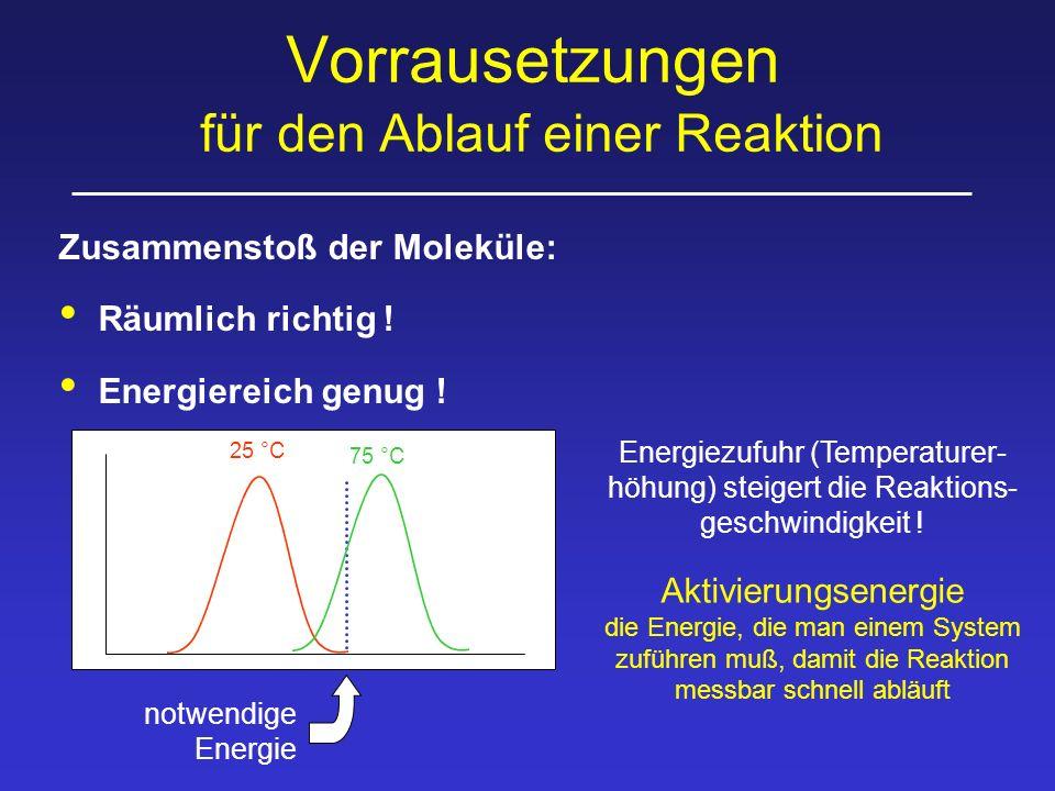 Vorrausetzungen für den Ablauf einer Reaktion Zusammenstoß der Moleküle: Räumlich richtig ! Energiereich genug ! 25 °C notwendige Energie Aktivierungs