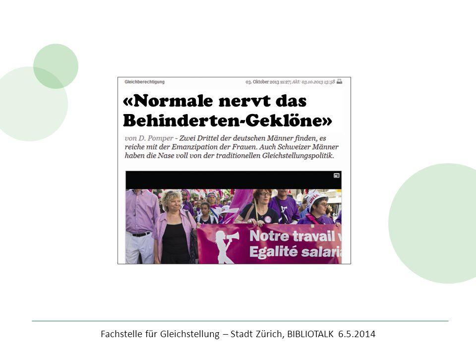 """Fachstelle für Gleichstellung – Stadt Zürich, BIBLIOTALK 6.5.2014 Würden Sie auch eine Veranstaltung mit dem Titel: """"Geschlecht: Behindert."""