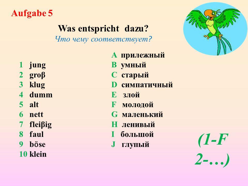 Klasse! Reisen wir weiter! Wollen wir mit den Adjektiven spielen!