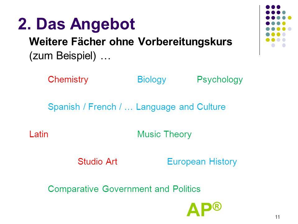 2. Das Angebot Weitere Fächer ohne Vorbereitungskurs (zum Beispiel) … ChemistryBiologyPsychology Spanish / French / … Language and Culture LatinMusic