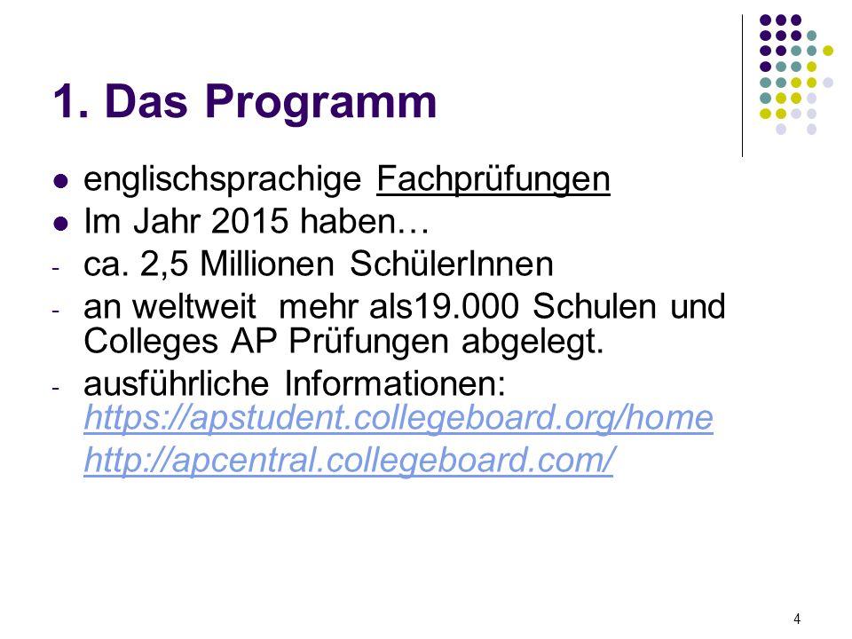 1. Das Programm englischsprachige Fachprüfungen Im Jahr 2015 haben… - ca.