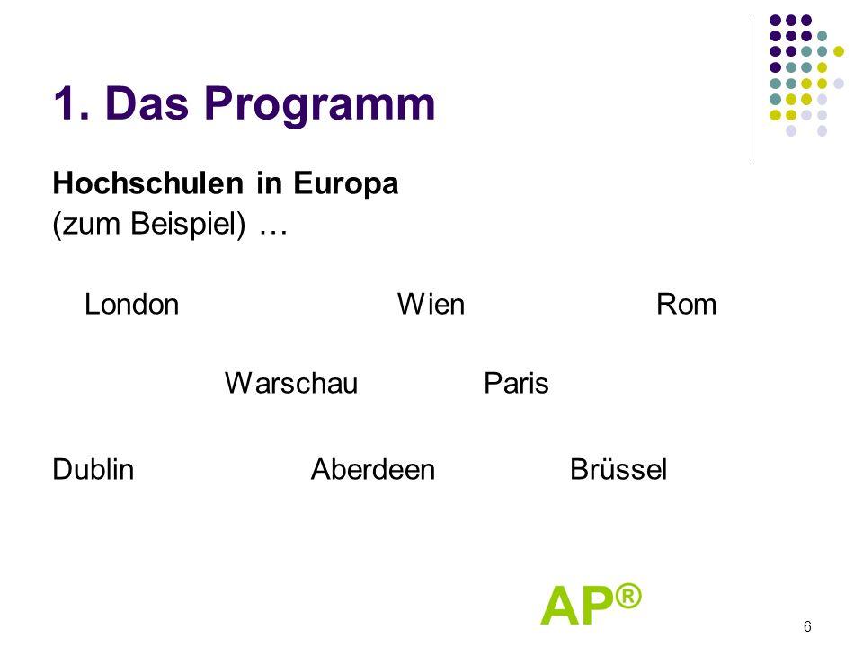 1. Das Programm Hochschulen in Europa (zum Beispiel) … LondonWienRom WarschauParis DublinAberdeenBrüssel 6