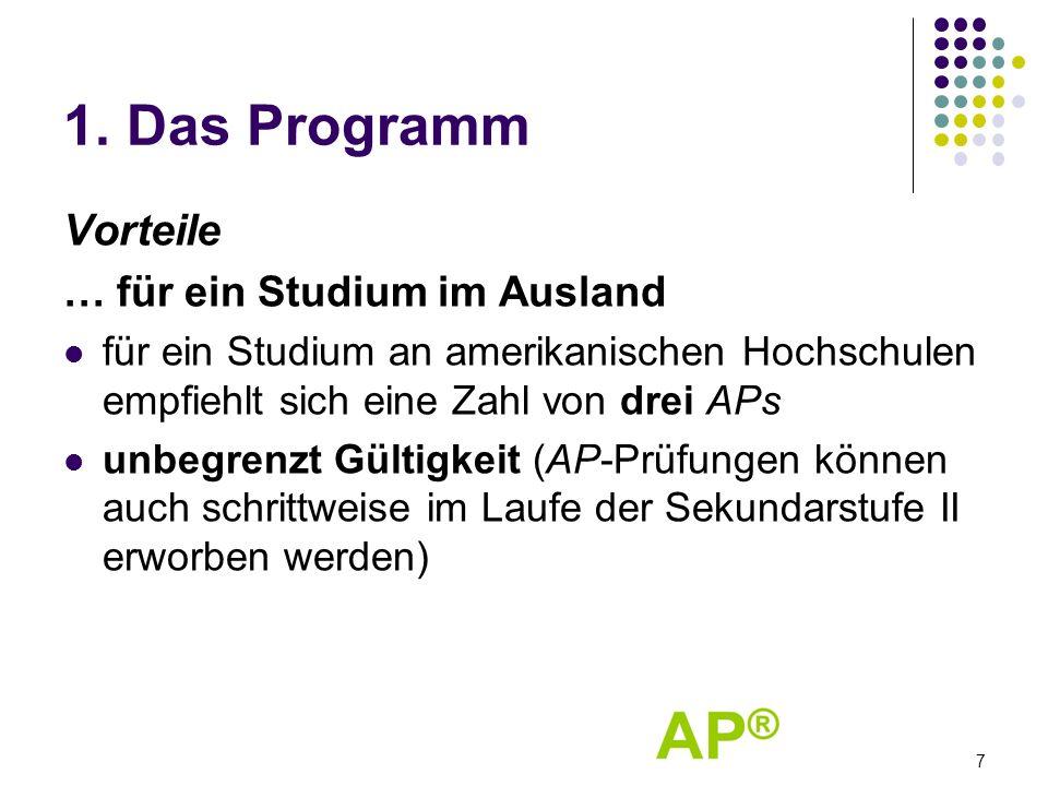 1. Das Programm Vorteile … für ein Studium im Ausland für ein Studium an amerikanischen Hochschulen empfiehlt sich eine Zahl von drei APs unbegrenzt G