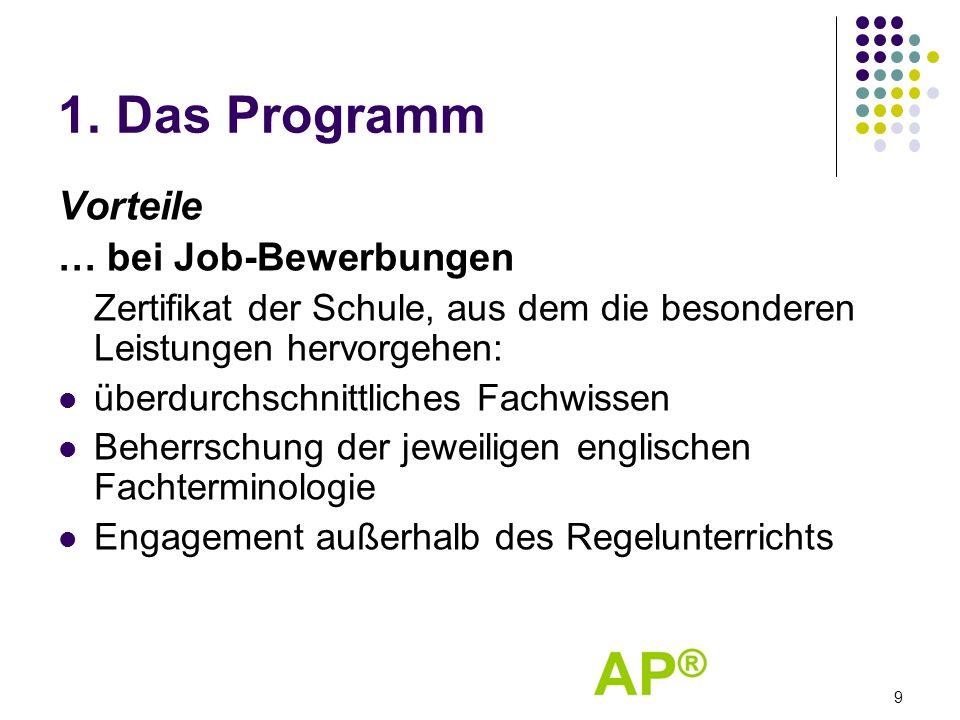 1. Das Programm Vorteile … bei Job-Bewerbungen Zertifikat der Schule, aus dem die besonderen Leistungen hervorgehen: überdurchschnittliches Fachwissen