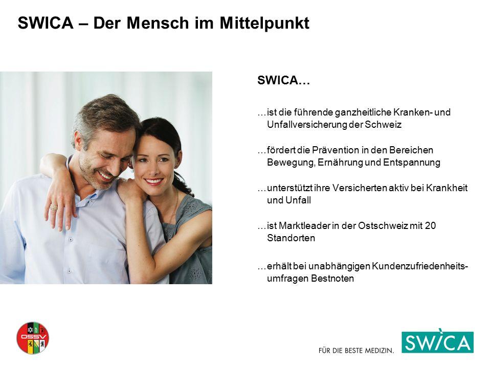 SWICA – Der Mensch im Mittelpunkt SWICA… …ist die führende ganzheitliche Kranken- und Unfallversicherung der Schweiz …fördert die Prävention in den Be