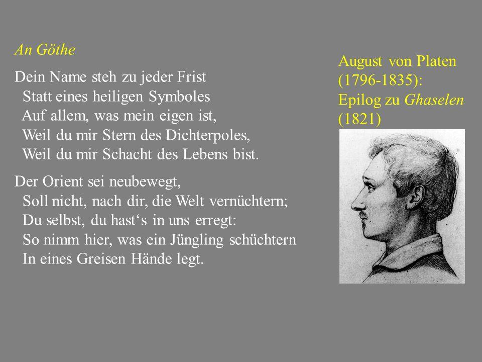 Goethes Divan – im 'deutschen' Spiel mit der Ghasel-Form In tausend Formen magst du dich verstecken, Doch, Allerliebste, gleich erkenn' ich dich; Du magst mit Zauberschleiern dich bedecken, Allgegenwärtige, gleich erkenn' ich dich.