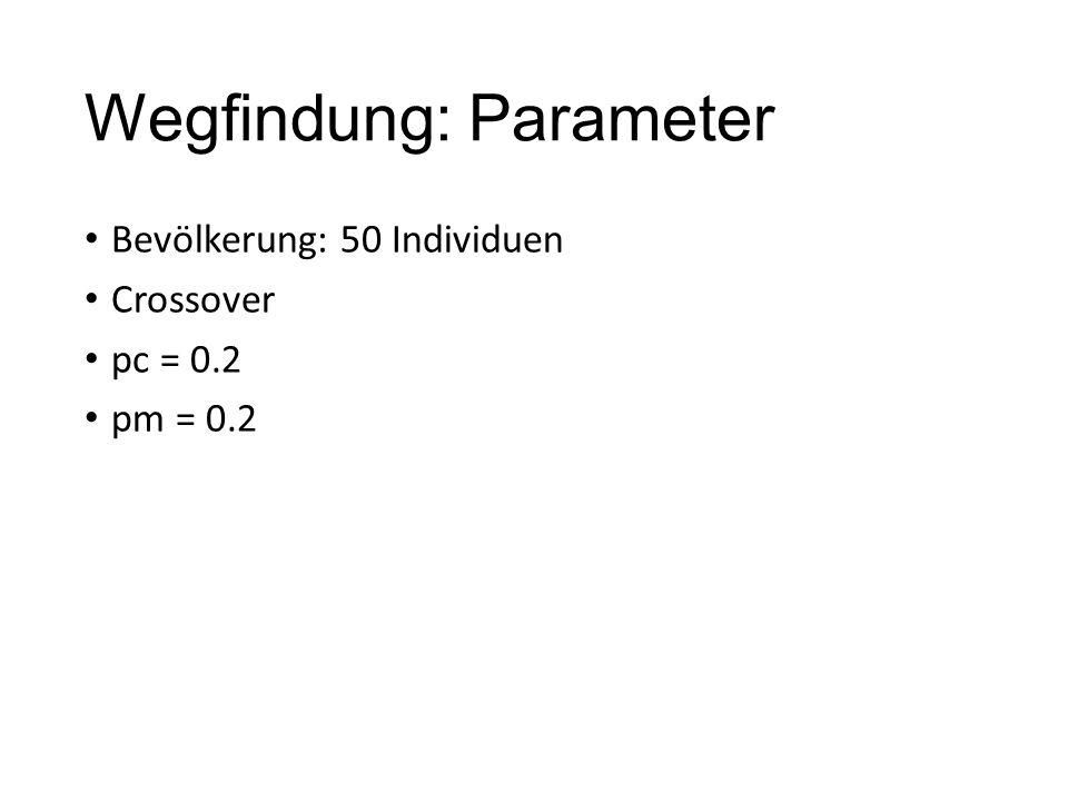 Wegfindung: Parameter Bevölkerung: 50 Individuen Crossover pc = 0.2 pm = 0.2