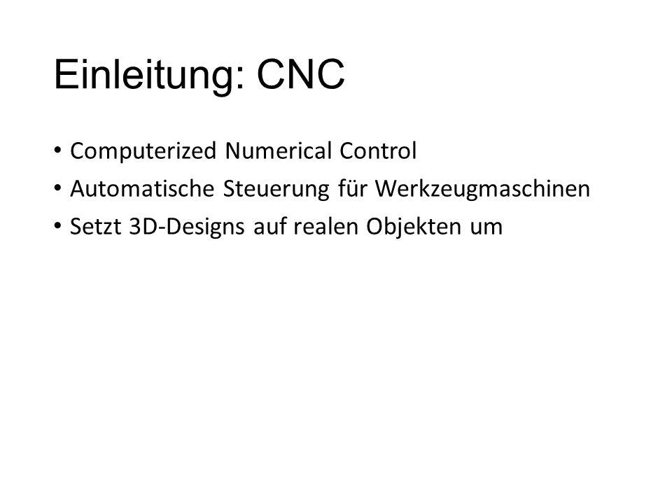 Einleitung: CNC Computerized Numerical Control Automatische Steuerung für Werkzeugmaschinen Setzt 3D-Designs auf realen Objekten um