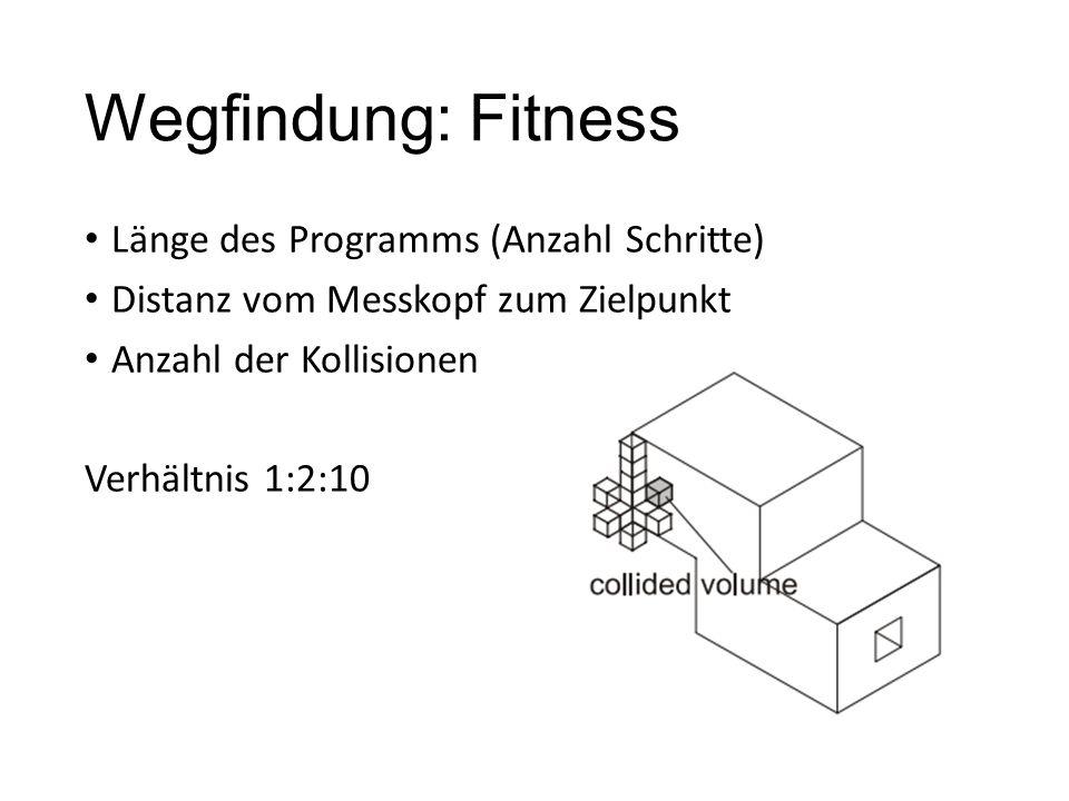 Wegfindung: Fitness Länge des Programms (Anzahl Schritte) Distanz vom Messkopf zum Zielpunkt Anzahl der Kollisionen Verhältnis 1:2:10