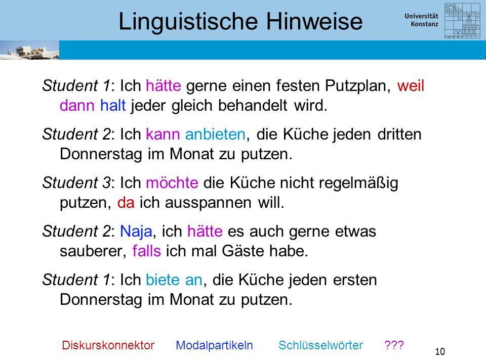 Linguistische Hinweise Student 1: Ich hätte gerne einen festen Putzplan, weil dann halt jeder gleich behandelt wird. Student 2: Ich kann anbieten, die