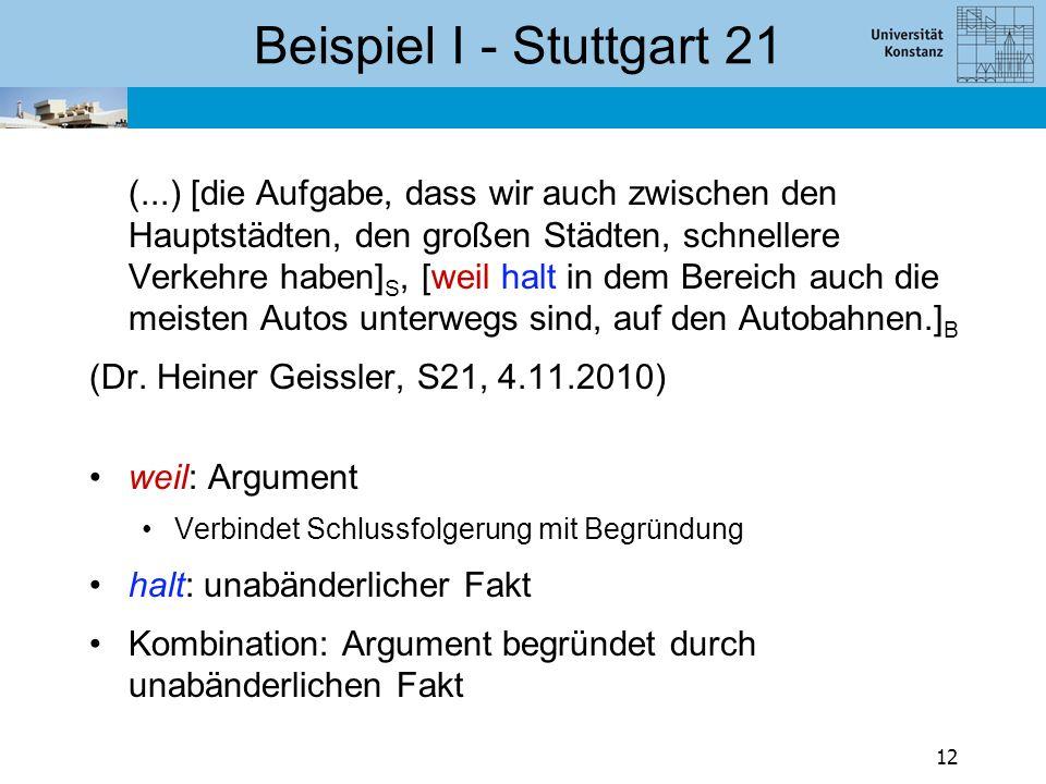 Beispiel I - Stuttgart 21 (...) [die Aufgabe, dass wir auch zwischen den Hauptstädten, den großen Städten, schnellere Verkehre haben] S, [weil halt in dem Bereich auch die meisten Autos unterwegs sind, auf den Autobahnen.] B (Dr.