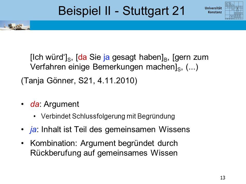 Beispiel II - Stuttgart 21 [Ich würd'] S, [da Sie ja gesagt haben] B, [gern zum Verfahren einige Bemerkungen machen] S, (...) (Tanja Gönner, S21, 4.11