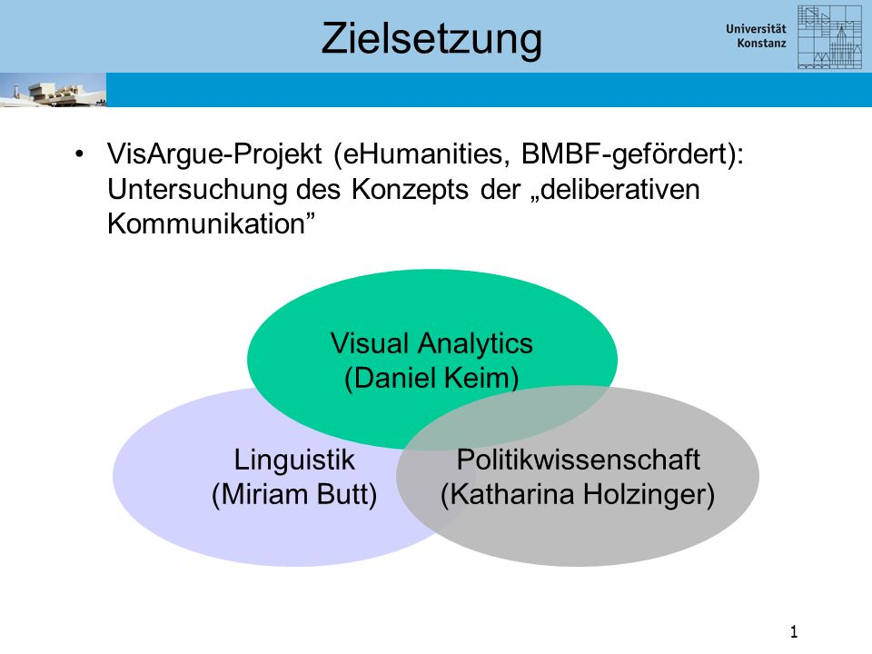 "Zielsetzung VisArgue-Projekt (eHumanities, BMBF-gefördert): Untersuchung des Konzepts der ""deliberativen Kommunikation"" Linguistik (Miriam Butt) Visua"