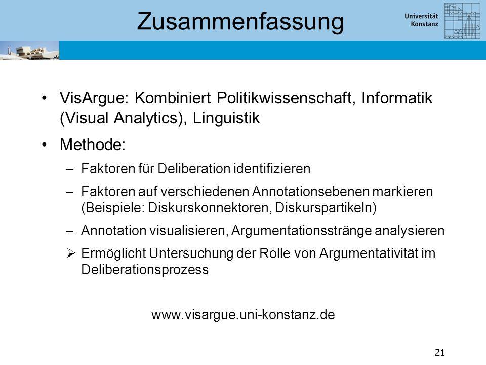 Zusammenfassung VisArgue: Kombiniert Politikwissenschaft, Informatik (Visual Analytics), Linguistik Methode: –Faktoren für Deliberation identifizieren