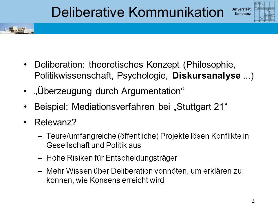 """Deliberative Kommunikation Deliberation: theoretisches Konzept (Philosophie, Politikwissenschaft, Psychologie, Diskursanalyse...) """"Überzeugung durch Argumentation Beispiel: Mediationsverfahren bei """"Stuttgart 21 Relevanz."""