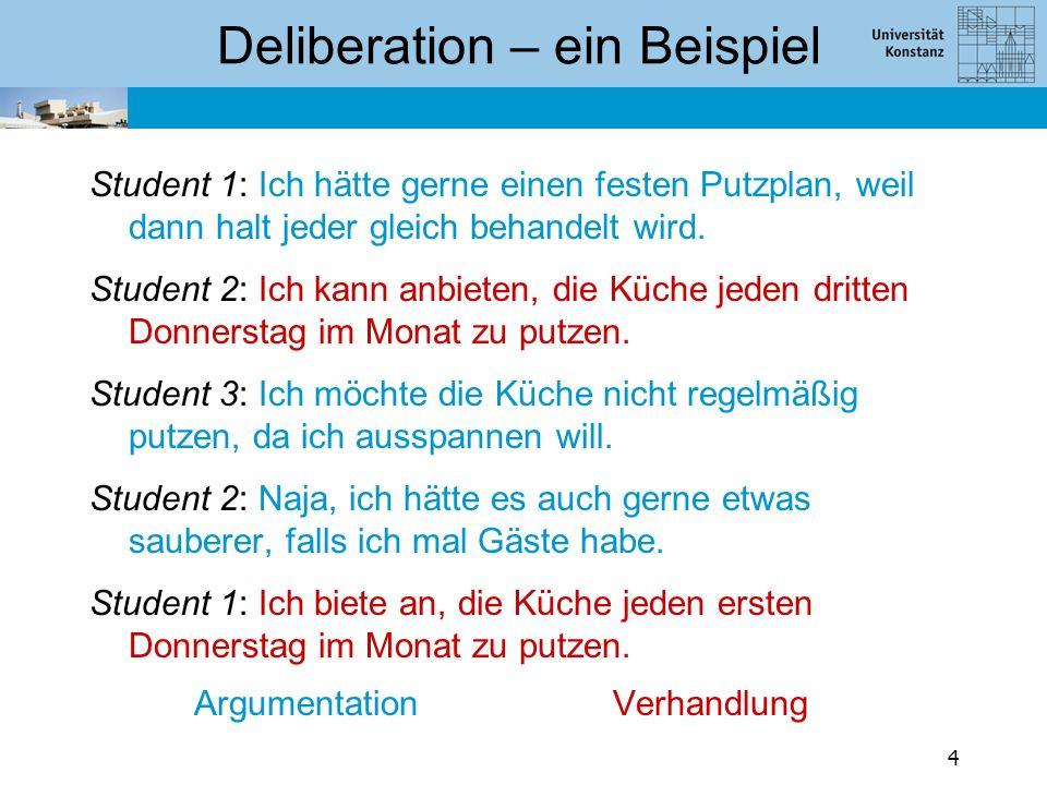 Deliberation – ein Beispiel Student 1: Ich hätte gerne einen festen Putzplan, weil dann halt jeder gleich behandelt wird. Student 2: Ich kann anbieten