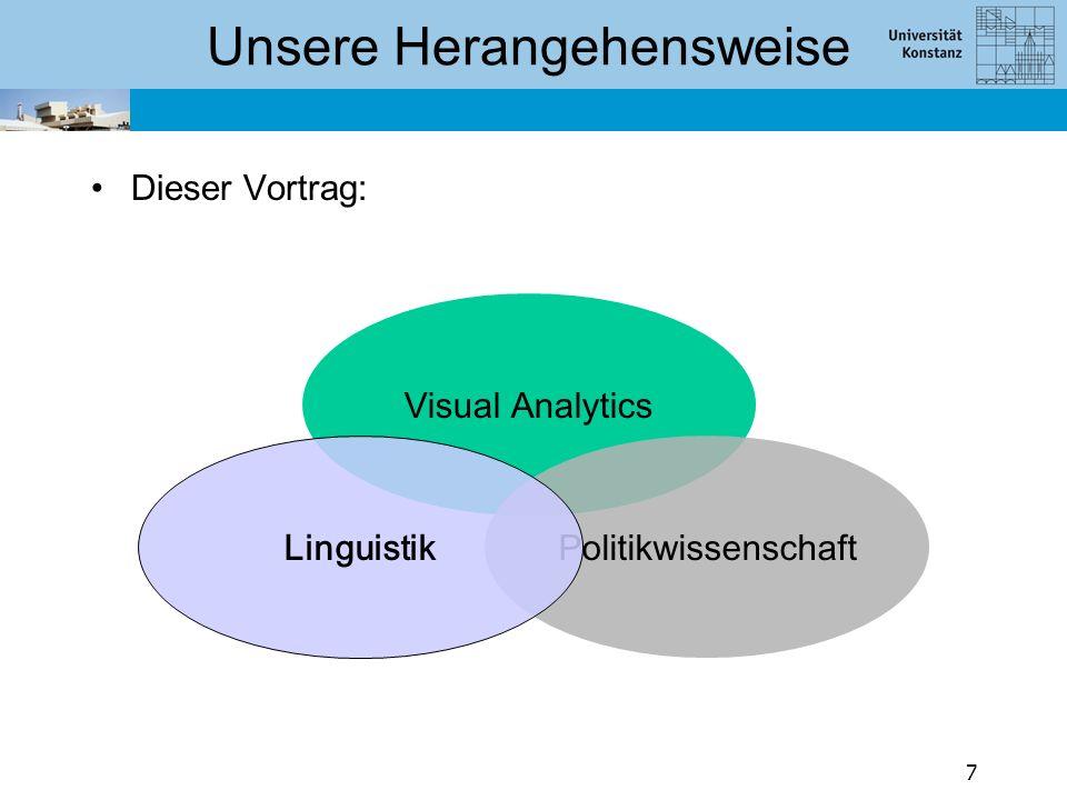 Unsere Herangehensweise Dieser Vortrag: Visual Analytics Politikwissenschaft Linguistik 7