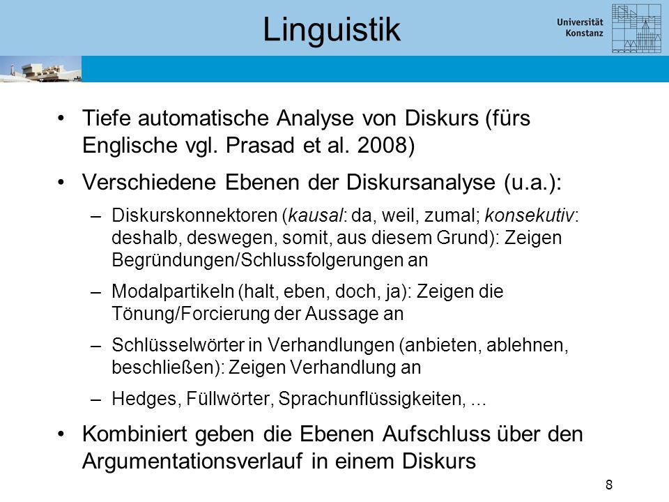 Tiefe automatische Analyse von Diskurs (fürs Englische vgl. Prasad et al. 2008) Verschiedene Ebenen der Diskursanalyse (u.a.): –Diskurskonnektoren (ka