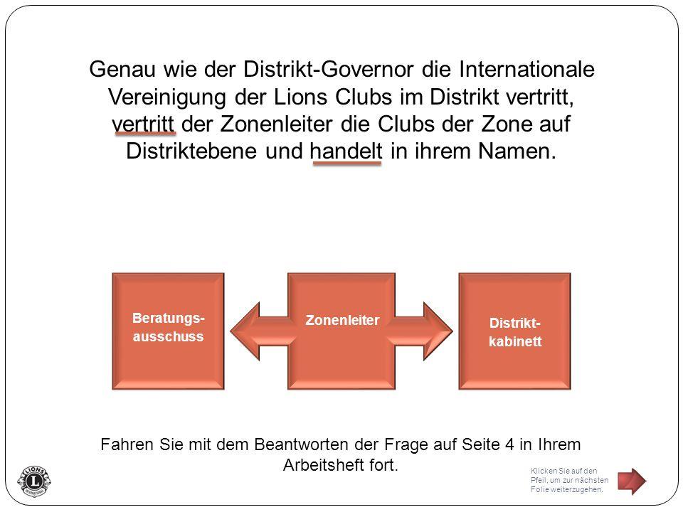 Genau wie der Distrikt-Governor die Internationale Vereinigung der Lions Clubs im Distrikt vertritt, vertritt der Zonenleiter die Clubs der Zone auf D