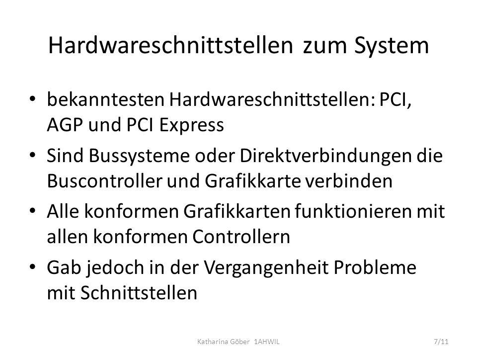 Hardwareschnittstellen zum System bekanntesten Hardwareschnittstellen: PCI, AGP und PCI Express Sind Bussysteme oder Direktverbindungen die Buscontrol