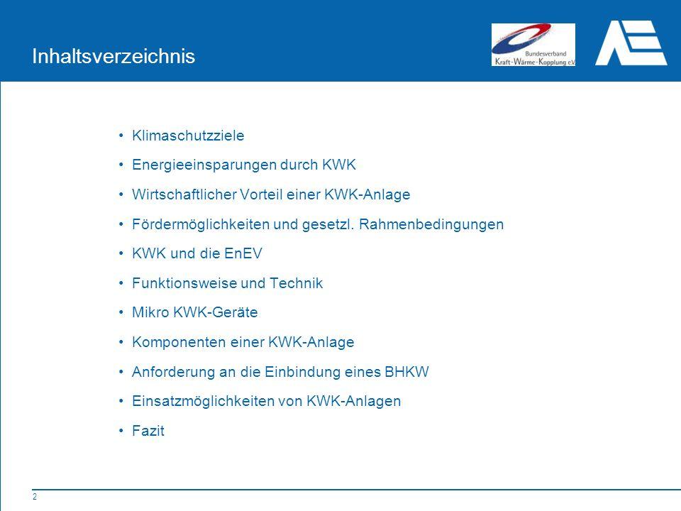 2 Klimaschutzziele Energieeinsparungen durch KWK Wirtschaftlicher Vorteil einer KWK-Anlage Fördermöglichkeiten und gesetzl.