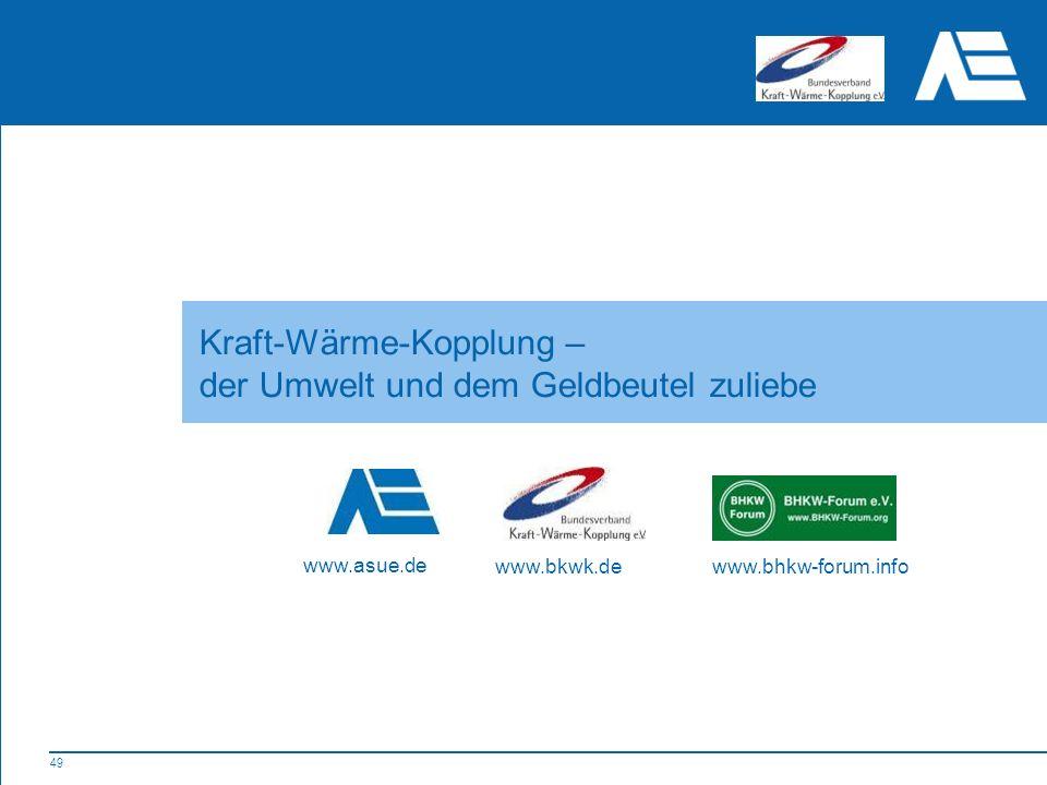 49 Kraft-Wärme-Kopplung – der Umwelt und dem Geldbeutel zuliebe www.asue.de www.bkwk.dewww.bhkw-forum.info