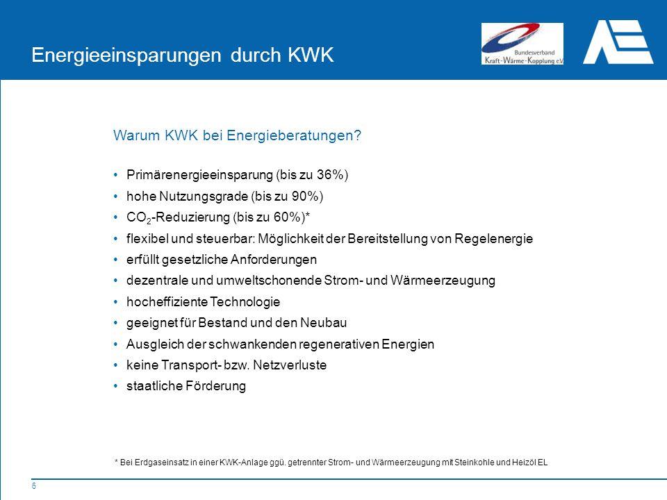 7 Energieeinsparungen durch KWK Warum KWK bei Energieberatungen.