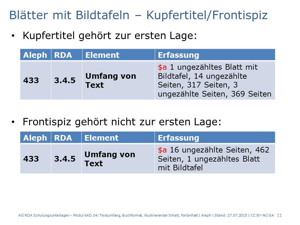 Blätter mit Bildtafeln – Kupfertitel/Frontispiz Kupfertitel gehört zur ersten Lage: Frontispiz gehört nicht zur ersten Lage: AG RDA Schulungsunterlage